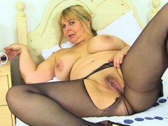 English cougar Alexa bangs her matured fanny with a dildo