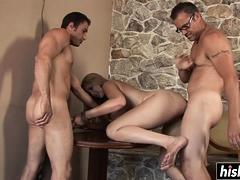 Busty biotch gets slammed by two guys