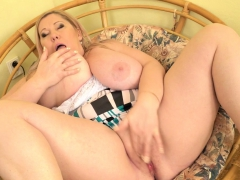 Euro BBW milf Dita nibbles on her huge bumpers