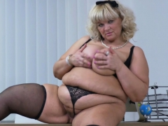 Euro BBW Dita works her pussy with fingers and dildo
