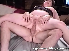 Granny asshole sit on penis