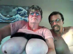 grandmother with hefty boobs has fun