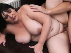 Picked up busty brunette gets her pussy licked and fucked