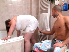 Big belly fatty gets fucked in the shower