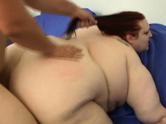 Man fingers and fucks cum-hole of one naughty beefy woman