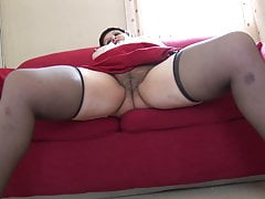 Mature huge-titted BBW demonstrates off gigantic rump and hairy vag upskirt