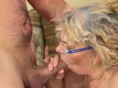 Grannys mouth drips cum