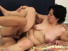 Cuckold fuck-fest with hairy-pussy older mother-in-law