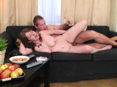 Horny fellow fucks her old hairy cunt