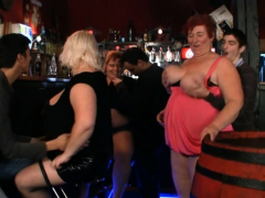 Plump party girls getting  in the  bar