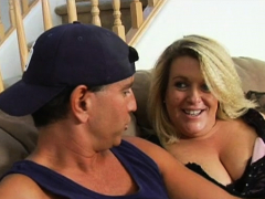 Playful plump damsel seduces pretty dude to bang her very well