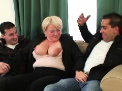 Boozed big tits blonde granny picked up for DP