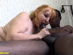 ugly old mom fucked by dark-hued stepson