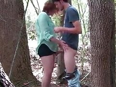 Young Plus-size teen fucked rock hard in forest,  public sex outdoor