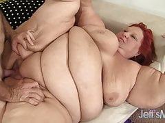 Hot SSBBW Redhead Granny Fucked By Gray Haired Daddy
