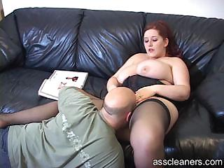 Big titted mistress lets pauper lick her pussy before her ass hole