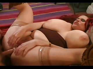 Redhead BBW gets the brush fat ass nailed