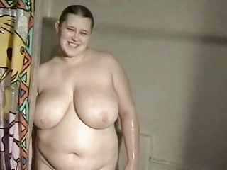 Chubby BBW Ex Girlfriend in the air big Special taking a shower