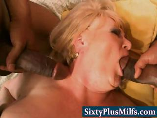 Chunky nasty granny in brutal threesome