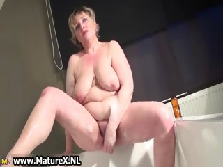 Simmering busty mature old woman is wanking part4