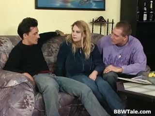 Twosome guys fuck a handful of BBW slut down her tight part5