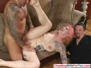 Kinky wife fucked infront for husband