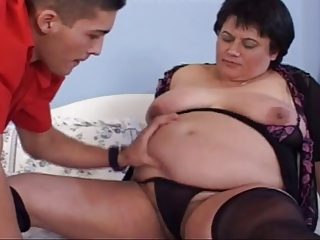 Bbw bunette mature fucks with young man