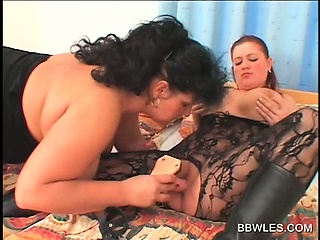 BBW lesbo in pantyhose gets twat dildo fucked
