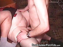 Mature fat housewife is fucked by two studs