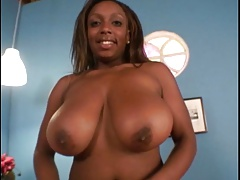 Black ample boobs  enjoy cum and ample dick