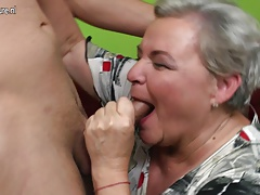 Naughty fat  having sex with her young fellow