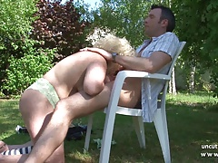 Chubby  french mature nextdoor hard banged outdoor