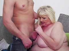 BBW grandmother slurps  cum after sex