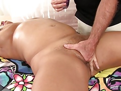 Fat  Gets Her Fleshy Body and Vulva Massaged